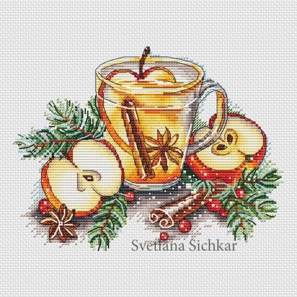 "Cross stitch design ""Apple tea"""