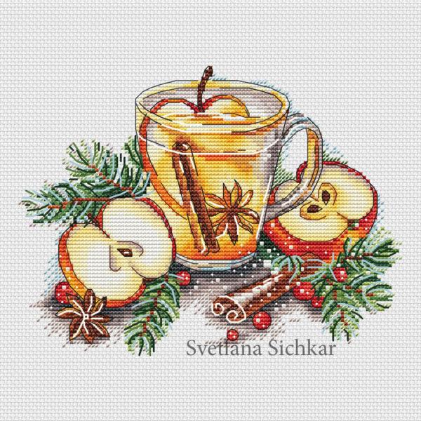 """Cross stitch design """"Apple tea"""""""