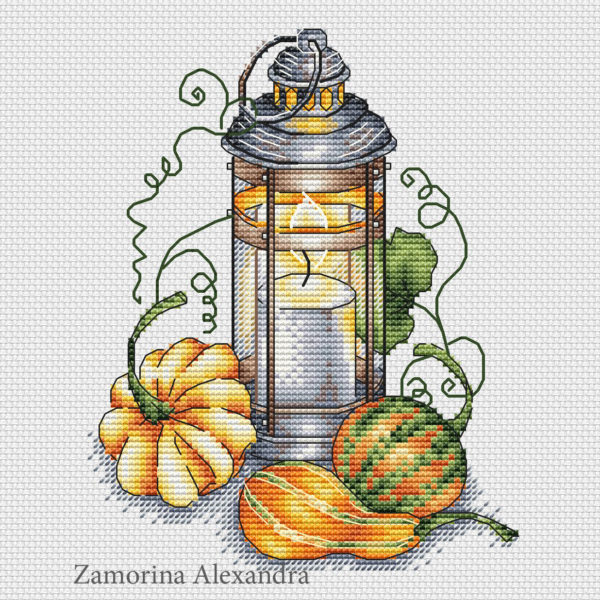 "Cross stitch design ""Autumn Lantern"""