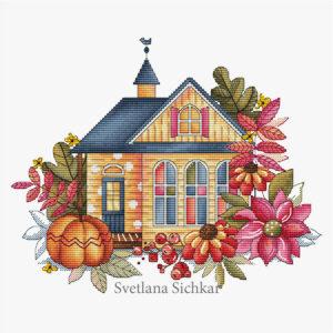 "Cross stitch design ""Autumn house"""