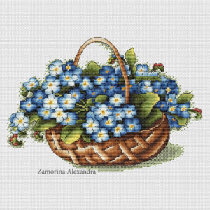 Basket with forget-me-nots