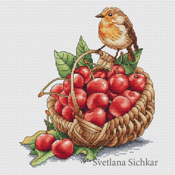 "Cross stitch design ""Basket with cherries"""
