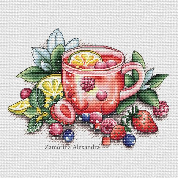 "Cross stitch design ""Berry tea"""