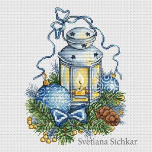 "Cross stitch design ""Blue Lantern"""