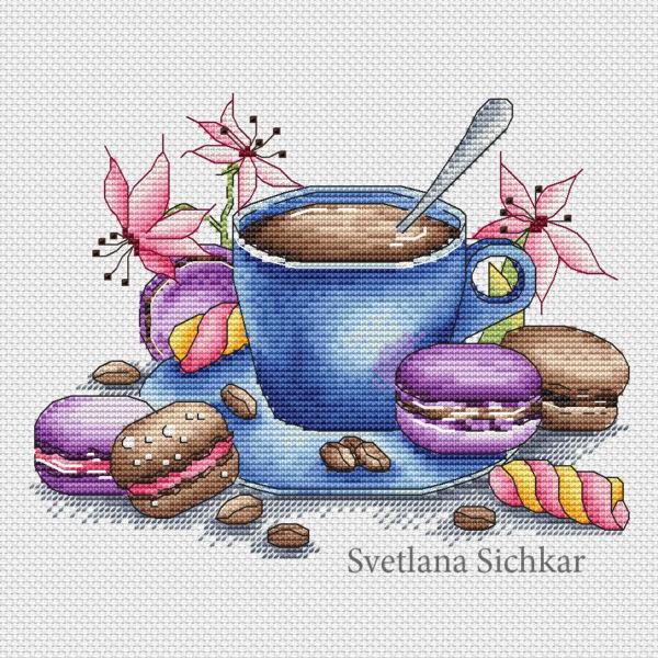 """Cross stitch design """"Blue cup"""""""