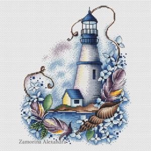 "Cross stitch design ""Blue lighthouse"""
