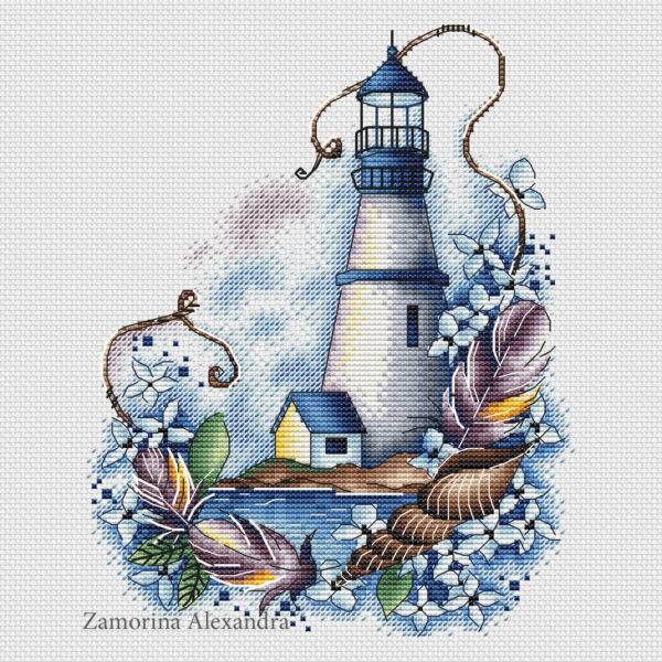 "Cross stitch design ""Blue lighthouse"""