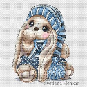 "Cross stitch design ""Bunny Gnome Boy"""