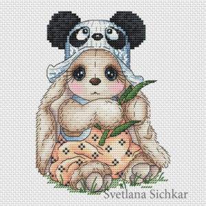 "Cross stitch design ""Bunny Panda"""
