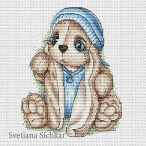 "Cross stitch design ""Bunny baby boy"""