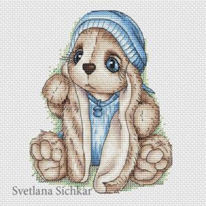 "Cross stitch design ""Bunny baby boy"""