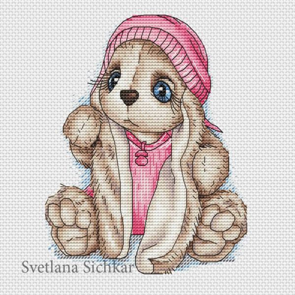 "Cross stitch design ""Bunny baby girl"""