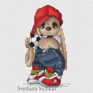 "Cross stitch design ""Bunny footballer"""