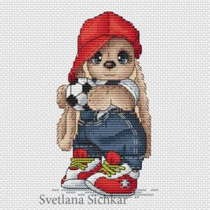 "Cross stitch design ""Bunny footballer"""