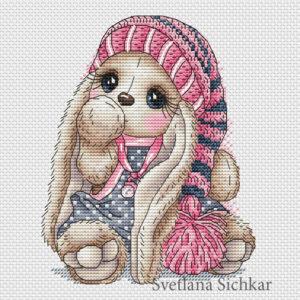 """Cross stitch design """"Bunny gnome girl"""""""