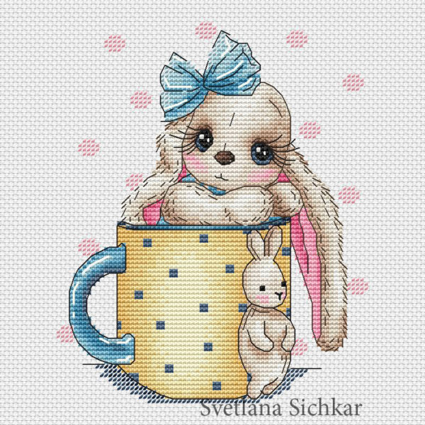 "Cross stitch design ""Bunny in a cup"""