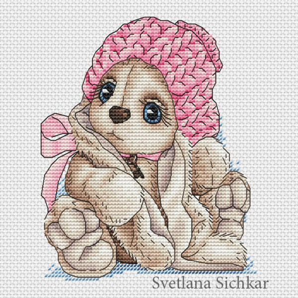 "Cross stitch design ""Bunny in a knitted cap"""