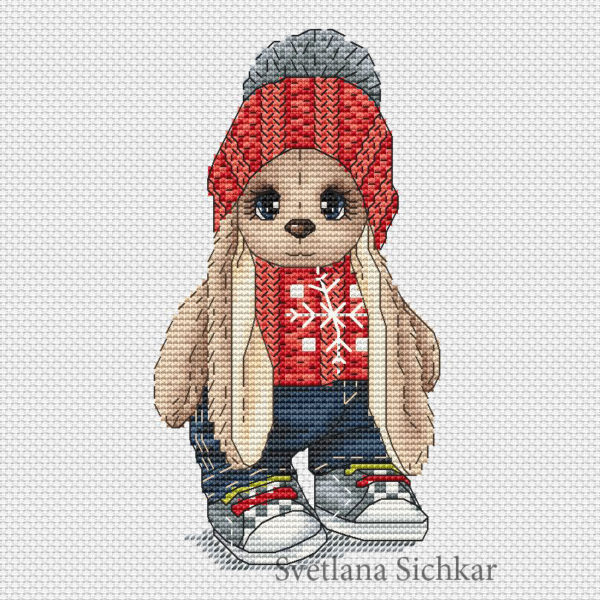 "Cross stitch design ""Bunny in a sweater"""