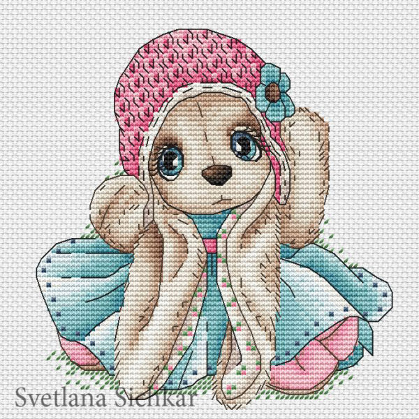 "Cross stitch design ""Bunny in a turquoise dress"""