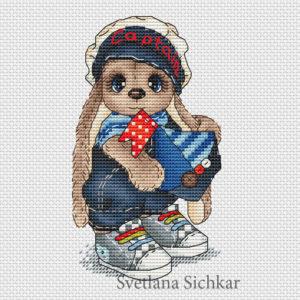 "Cross stitch design ""Bunny sailor boy"""