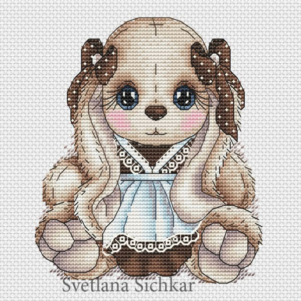 "Cross stitch design ""Bunny schoolgirl"""