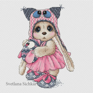 "Cross stitch design ""Bunny with owl"""