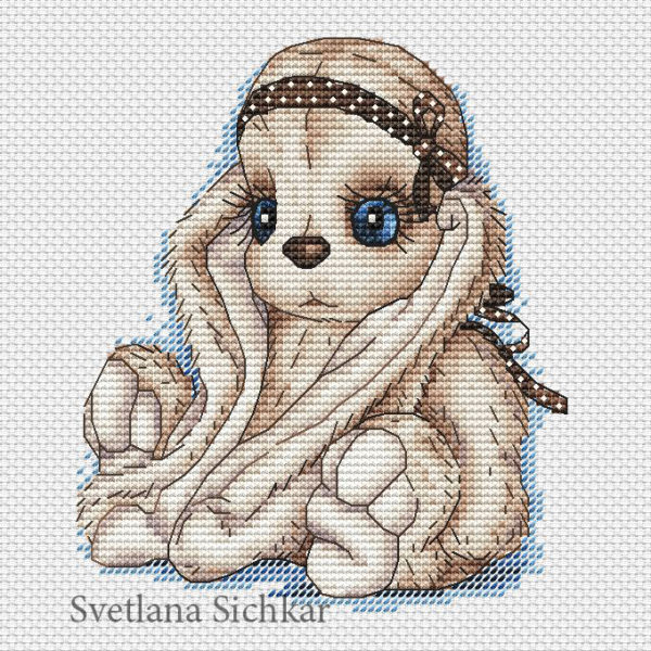 "Cross stitch design ""Bunny with ribbon"""