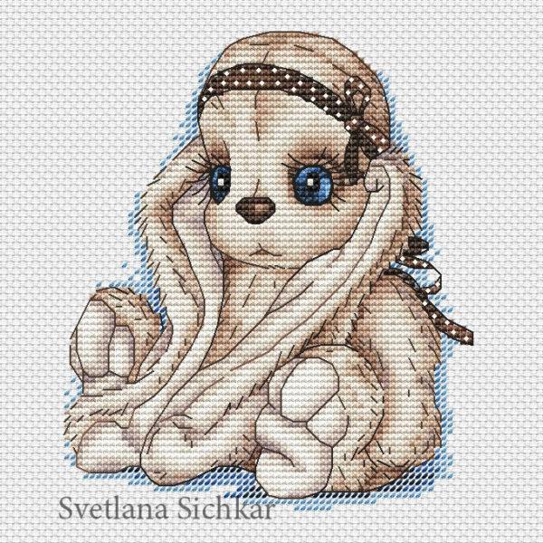 "Cross stitch design ""Bunny with ribbon"""