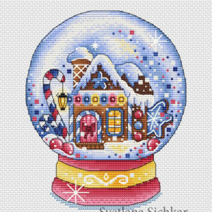 "Cross stitch design ""Candy snow globe"""