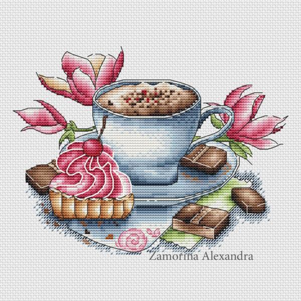 "Cross stitch design ""Cappuccino"""