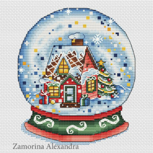 "Cross stitch design ""Christmas Snow Globe"""