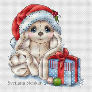 "Cross stitch design ""Christmas bunny"""