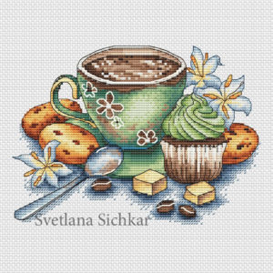 "Cross stitch design ""Cup of coffee"""