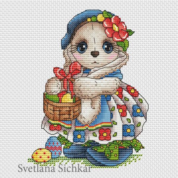 "Cross stitch design ""Ester Bunny"""