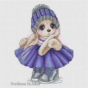"Cross stitch design ""Forget-me-bunny"""