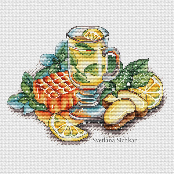 "Cross stitch design ""Ginger tea"""