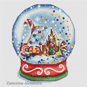 "Cross stitch design ""Gingerbread Snow Globe"""