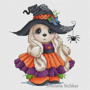 "Cross stitch design ""Halloween Bunny"""