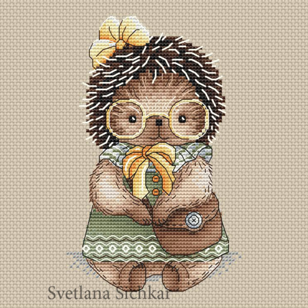 "Cross stitch design ""Hedgehog Tonia"""