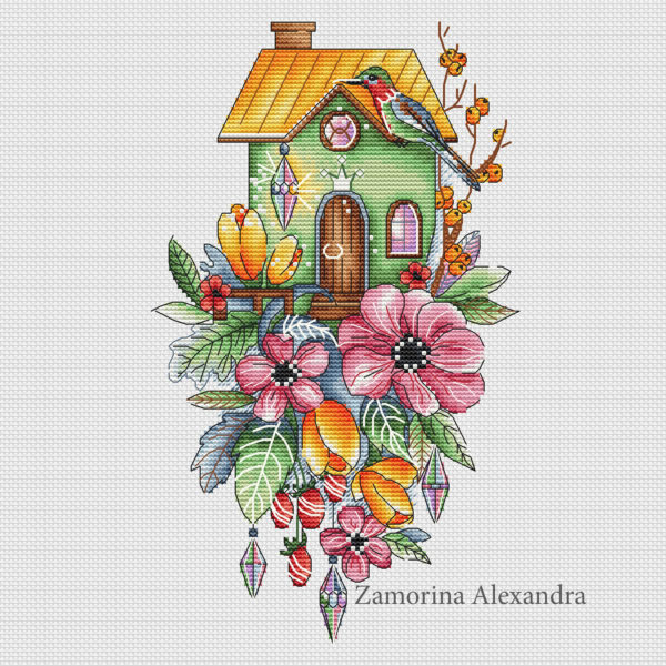 "Cross stitch design ""House with tulips"""