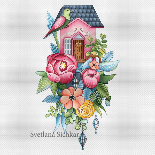 """Cross stitch design """"House with peonies"""""""