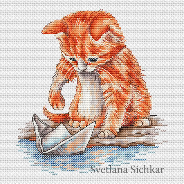 "Cross stitch design ""Kitten with a boat"""