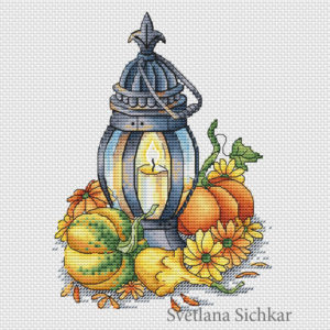 "Cross stitch design ""Lantern with pumpkins"""