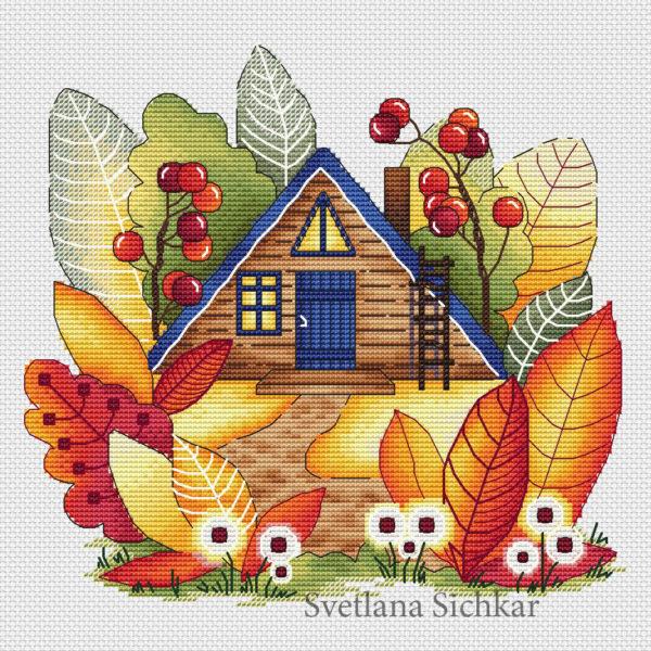 "Cross stitch design ""Magic autumn house"""
