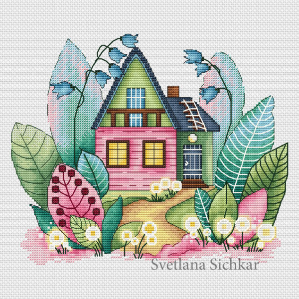 "Cross stitch design ""Magic spring house"""