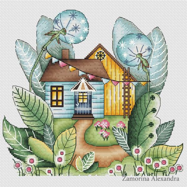 "Cross stitch design ""Magic summer house"""