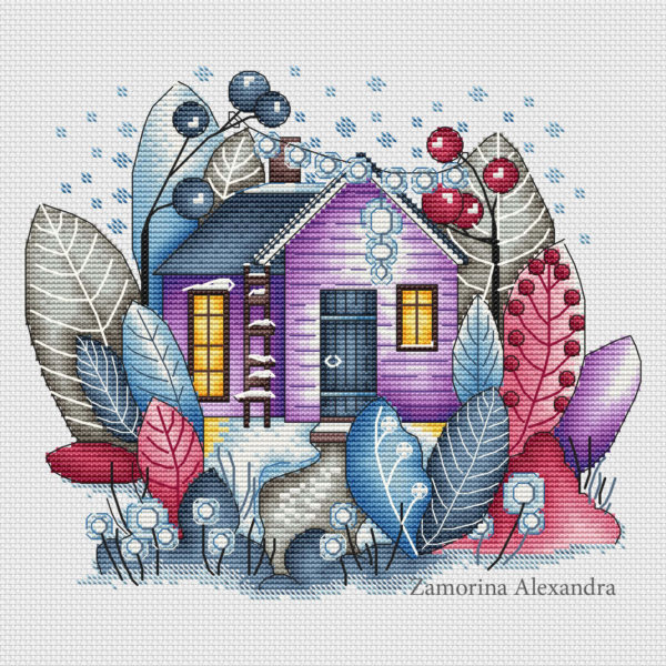 "Cross stitch design ""Magic winter house"""