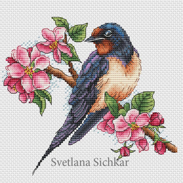 "Cross stitch design ""Swallow"""