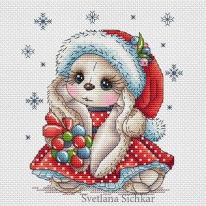 "Cross stitch design ""New Year's Bunny"""