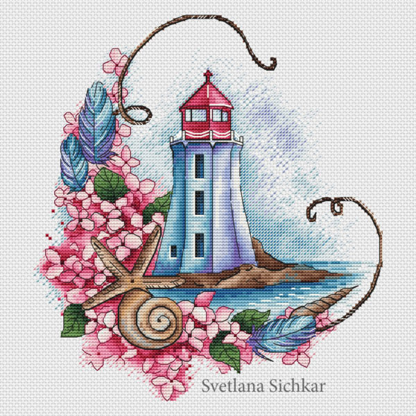 "Cross stitch design ""Pink lighthouse"""